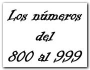 Los números del 800 al 999