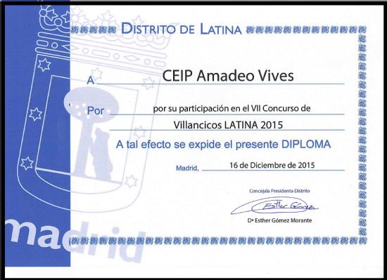 Diploma Coro CEIP Amadeo Vives dic 15