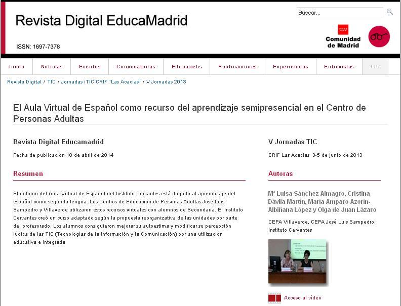 Ponencia V jornadas TIC en el CRIF Las Acacias